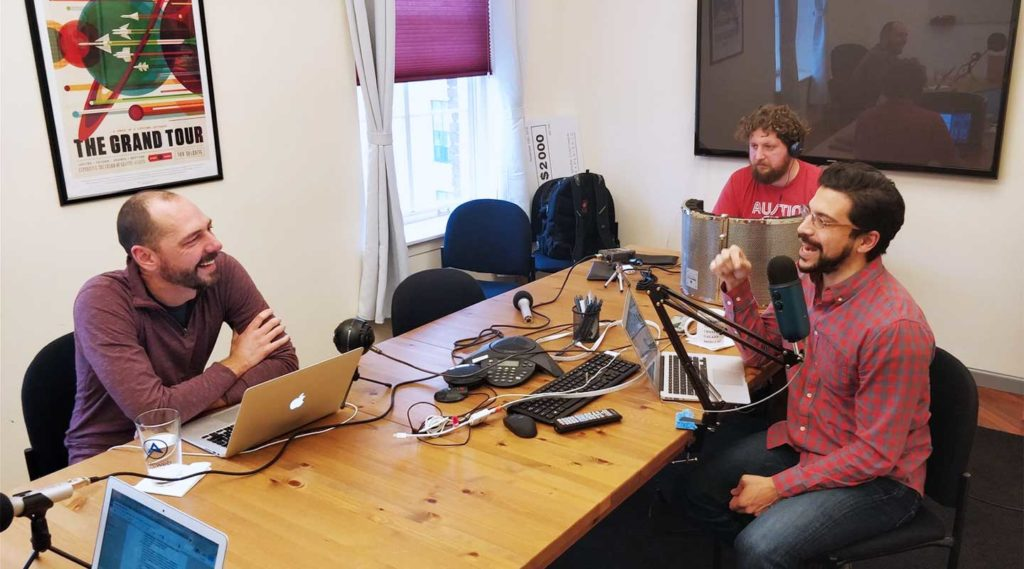 podcast recording in conference room